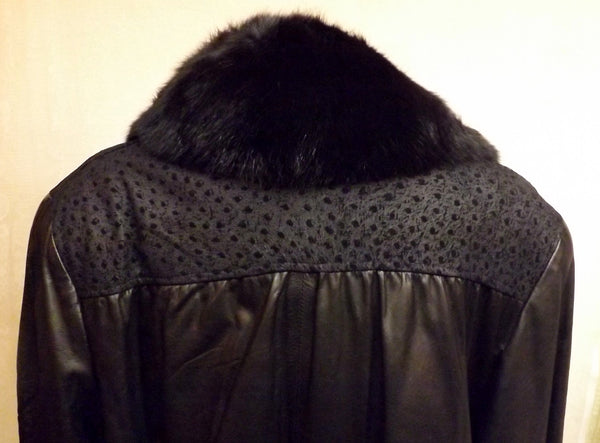 80s Black Leather Faux Mink Fur Trim Coat Size XL Dubrowsky Perlbinder - The Blackwolf Shop Vintage Clothing for Men and Women, Antiques and Estate Jewerly