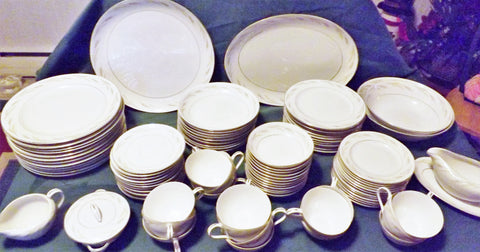 Kyoto 91 pc Japanese Fine China Dinnerware Set for 12 Royal Wheat 6062 - The Blackwolf Shop Vintage Clothing for Men and Women, Antiques and Estate Jewerly