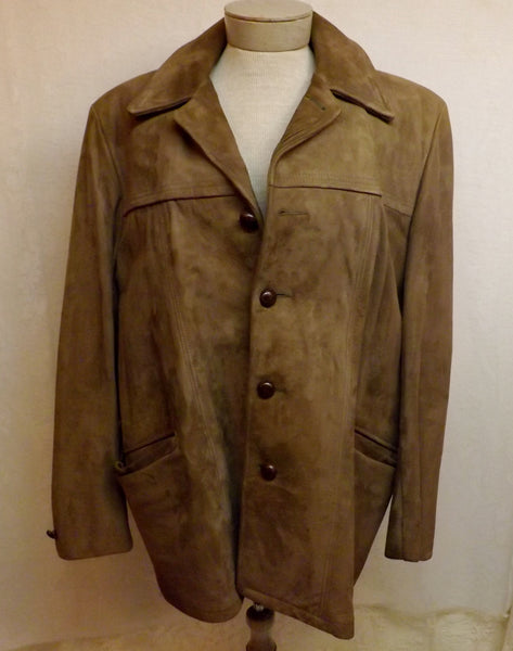 70s Mens Suede Coat DuPont Quilon Lined Size 44 - The Blackwolf Shop Vintage Clothing for Men and Women, Antiques and Estate Jewerly