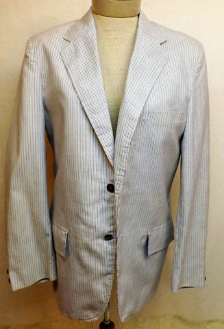 60s Seersucker Mens Cotton Sport Coat by Sir Walter Size 38 R