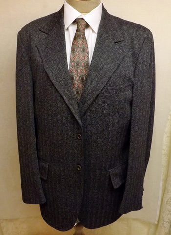 60s Clipper Craft Mens Wool Suit Gray Herringbone Size 42R