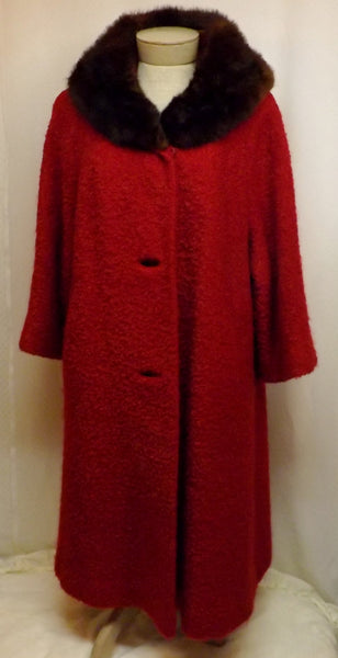Vintage Mink Fur Trimmed Red Top Coat w Stanley Fabric Size XL - The Blackwolf Shop Vintage Clothing for Men and Women, Antiques and Estate Jewerly