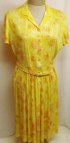 40s Claire Tiffany Yellow Celanese Rayon Jersey Dress Size 14 - The Blackwolf Shop Vintage Clothing for Men and Women, Antiques and Estate Jewerly