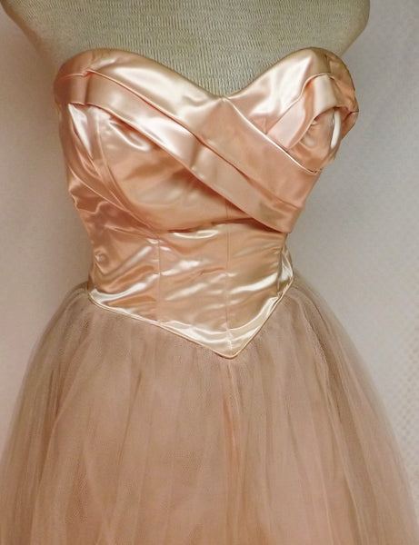 60s Pink Satin Strapless Wedding Dress Handmade Size 4 - The Blackwolf Shop Vintage Clothing for Men and Women, Antiques and Estate Jewerly