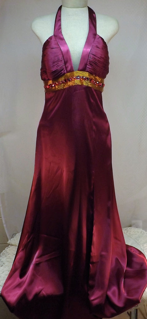Vintage Red Evening Gown Bari Jay Shimmer w Sequins Size 10 - The Blackwolf Shop Vintage Clothing for Men and Women, Antiques and Estate Jewerly