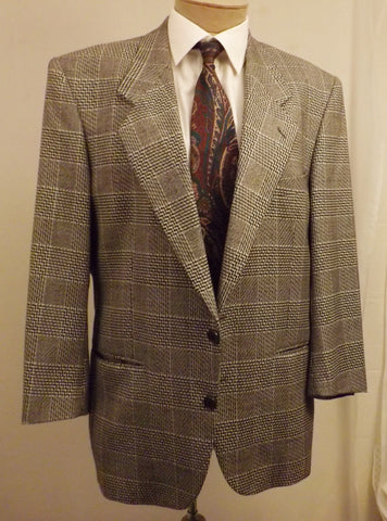 Vintage Yves Saint Laurent Black Check Plaid Sport Coat Size 40 - The Blackwolf Shop Vintage Clothing for Men and Women, Antiques and Estate Jewerly