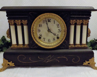 Antique 1909 Wm Gilbert Clock Co Austria 8 Day Mantel Clock w Chime - The Blackwolf Shop Vintage Clothing for Men and Women, Antiques and Estate Jewerly
