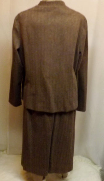 70s Marty Gutmacher Brown Herringbone 3 pc Dress Suit  Size 20 - The Blackwolf Shop Vintage Clothing for Men and Women, Antiques and Estate Jewerly