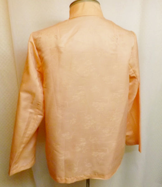 Vintage Asian Silk Blouse Top Peach with Cherry Blossoms Size 6 - The Blackwolf Shop