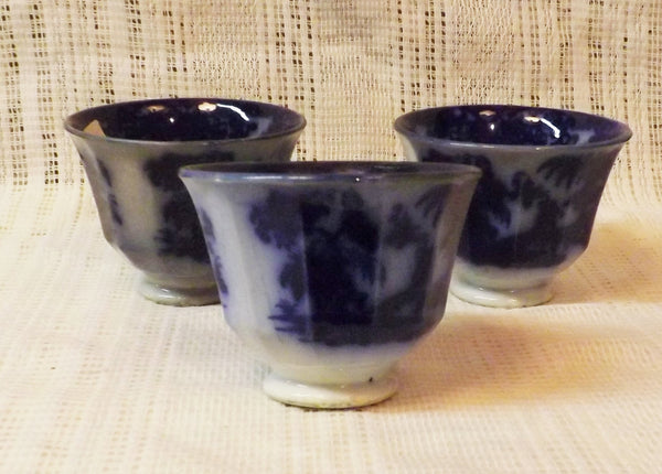 Antique Victorian Flow Blue Shapoo 3 Handless Tea Cups - The Blackwolf Shop Vintage Clothing for Men and Women, Antiques and Estate Jewerly
