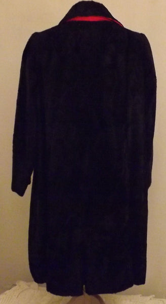 60s Dan Millstein De Milo Bombay Black Faux Lamb Fur Coat Size 12 - The Blackwolf Shop
