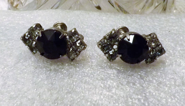 60s Black Oynx and Crystal Hollywood Regency Screw Back Earrings - The Blackwolf Shop Vintage Clothing for Men and Women, Antiques and Estate Jewerly
