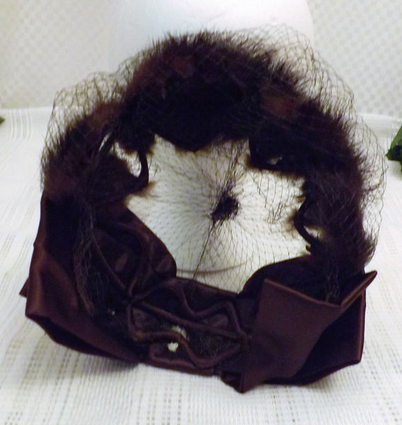 50s Mink Fur and Satin Vintage Fascinator Hat Size 6 7/8 - The Blackwolf Shop Vintage Clothing for Men and Women, Antiques and Estate Jewerly