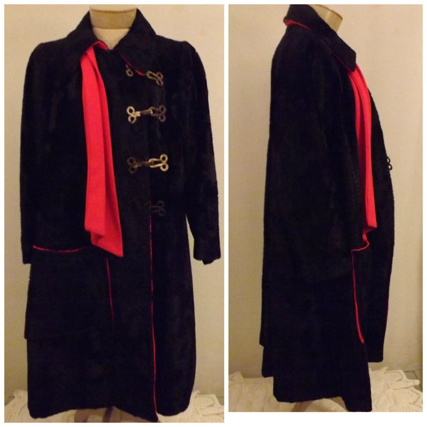 60s Dan Millstein De Milo Bombay Black Faux Lamb Fur Coat Size 12 - The Blackwolf Shop Vintage Clothing for Men and Women, Antiques and Estate Jewerly