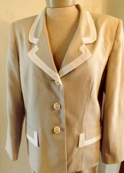 80s  Oleg Cassini Designer Beige Dress Suit Size 12 - The Blackwolf Shop Vintage Clothing for Men and Women, Antiques and Estate Jewerly