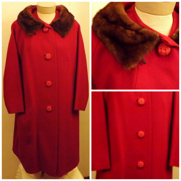 1950s Red Wool Top Coat with Sheared Mink Fur Trim  Size XL - The Blackwolf Shop Vintage Clothing for Men and Women, Antiques and Estate Jewerly