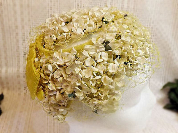 60s Fascinator Hat White Flower Open Mesh Yellow Ribbon - The Blackwolf Shop Vintage Clothing for Men and Women, Antiques and Estate Jewerly