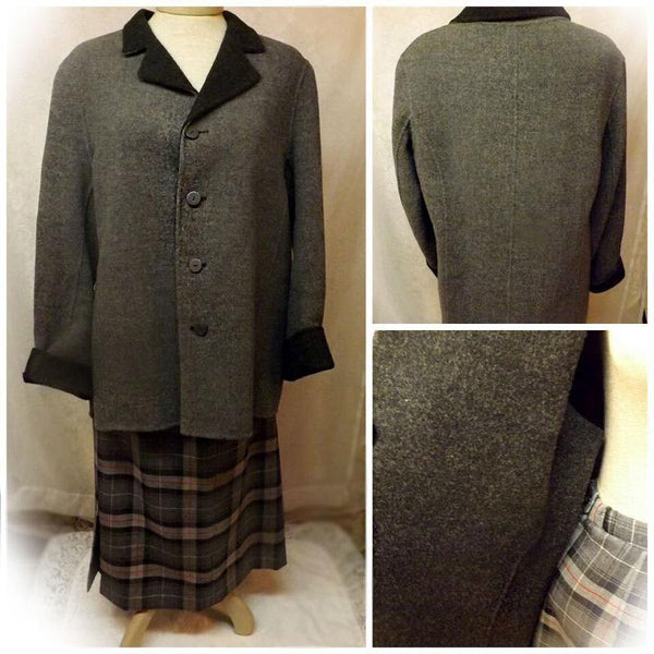 70s Pendleton Gray Dress 2 pc Suit Tartan Skirt Fleece Top Size 14 - The Blackwolf Shop Vintage Clothing for Men and Women, Antiques and Estate Jewerly