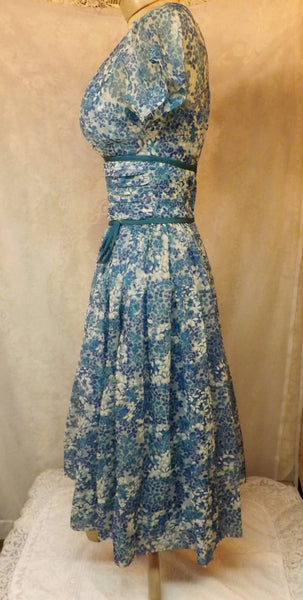 50s Vintage Blue Rockabilly Swing Party Dress Size 6 R & K Originals - The Blackwolf Shop Vintage Clothing for Men and Women, Antiques and Estate Jewerly