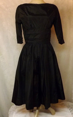 50s Jonathan Logan Rockabilly Swing Black Party Dress Size 10