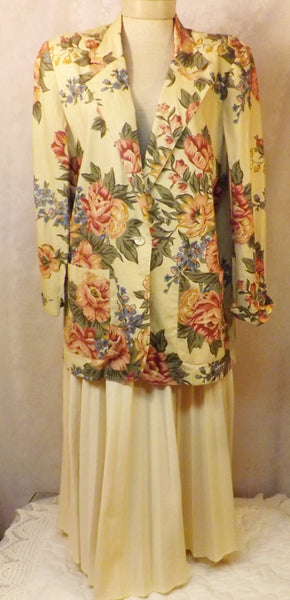 2 pc Floral Print Dress Suit Pleated Skirt Size 10  Cathy Daniels