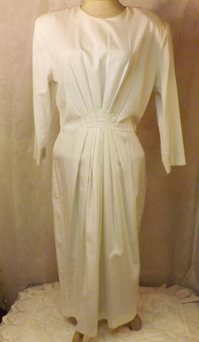 80s Vintage Long White Evening Dress Size 14 Katie Mfg - The Blackwolf Shop Vintage Clothing for Men and Women, Antiques and Estate Jewerly