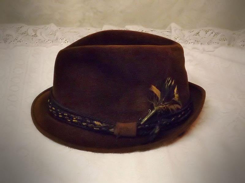 40's Mens Brown Fedora Hat Fur Velour by LaSalle Size 7  1 / 8 - The Blackwolf Shop Vintage Clothing for Men and Women, Antiques and Estate Jewerly