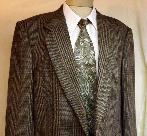 70s Mens Green Wool Sport Coat by Cricketeer Gold Stripe  Size 40R - The Blackwolf Shop