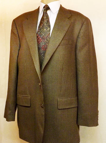 80s Polo Brown Check Wool Mens Sport Coat Size 42R by Ralph Lauren - The Blackwolf Shop Vintage Clothing for Men and Women, Antiques and Estate Jewerly