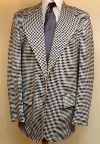 80s Blue Houndstooth Mens Sport Coat Blazer by Towncraft Size 40R - The Blackwolf Shop Vintage Clothing for Men and Women, Antiques and Estate Jewerly