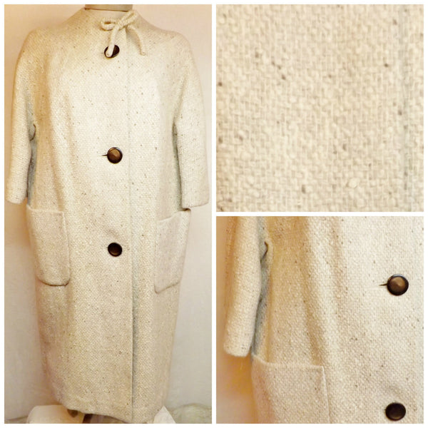 1950s Vintage Womens Top Coat Off White Three Quarters Length Size L - The Blackwolf Shop