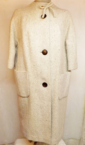 1950s Vintage Womens Top Coat Off White Size L