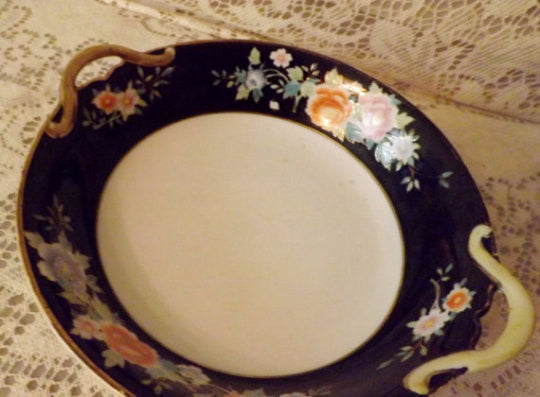 20s Nippon Japanese Hand Painted China Serving Bowl - The Blackwolf Shop Vintage Clothing for Men and Women, Antiques and Estate Jewerly