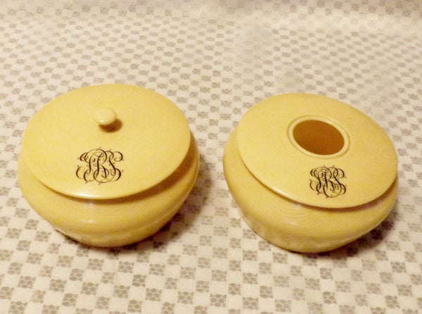 1920s  Antique Ivory Pyralin Dresser Set Celluloid 7pc Set - The Blackwolf Shop Vintage Clothing for Men and Women, Antiques and Estate Jewerly