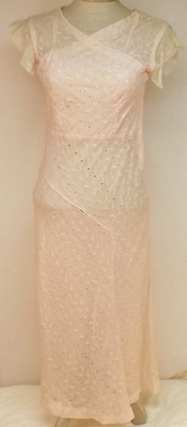 30's Vintage Pink Evening Dress Lace Wedding Dress Size 4