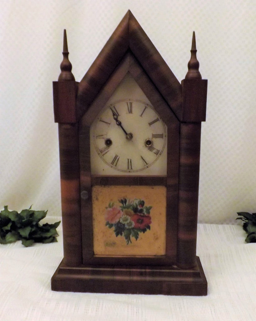 1870 Antique Waterbury Steeple Clock Mahogany Veneer 30 Hr