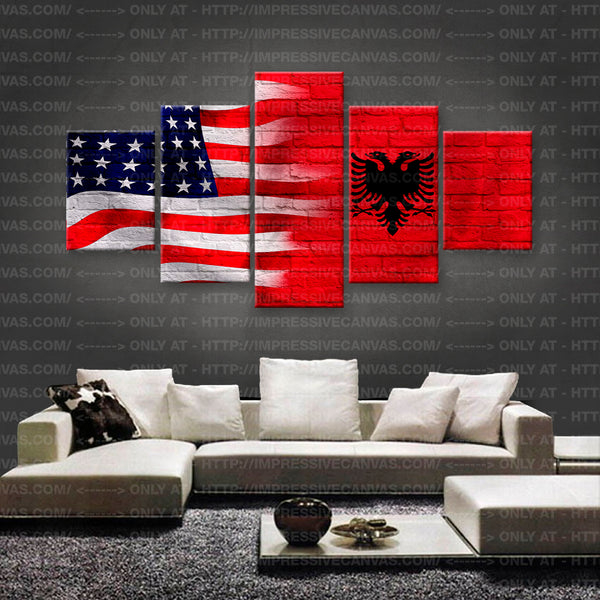 HD PRINTED LIMITED EDITION AMERICAN - ALBANIAN (ALBANIA) FLAG CANVAS (FLAG150042)
