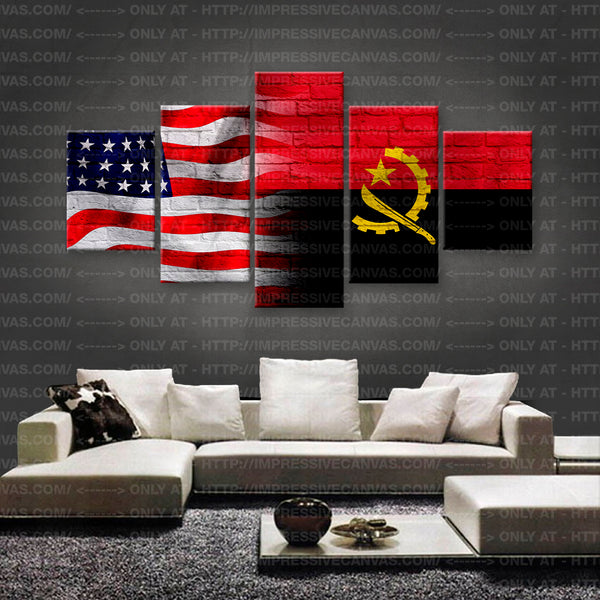 HD PRINTED LIMITED EDITION AMERICAN - ANGOLAN (ANGOLA) FLAG CANVAS (FLAG150068)