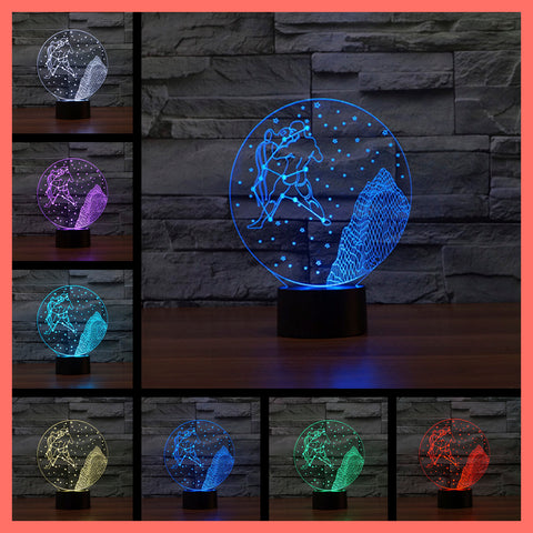 SMART TOUCH 3D LED LAMP ZODIAC AQUARIUS SIGN (ZLED610012)