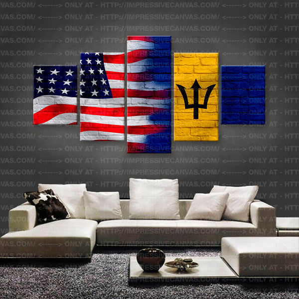 HD PRINTED LIMITED EDITION AMERICAN - BARBADIAN (BARBADOS) FLAG CANVAS (FLAG150061)