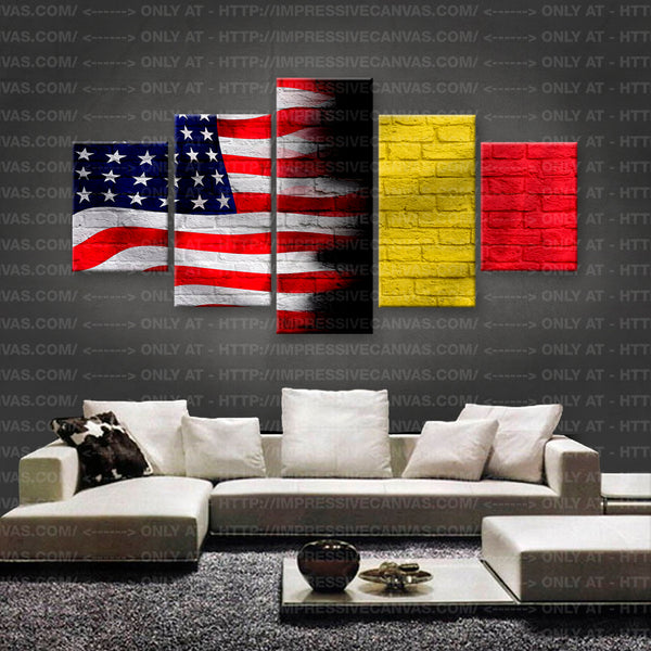HD PRINTED LIMITED EDITION AMERICAN - BELGIAN (BELGIUM) FLAG CANVAS (FLAG150060)