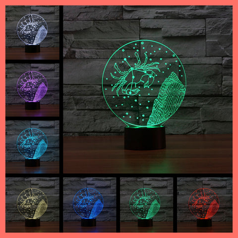 SMART TOUCH 3D LED LAMP ZODIAC CANCER SIGN (ZLED610010)