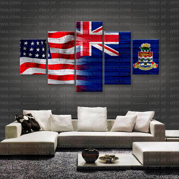 HD PRINTED LIMITED EDITION AMERICAN - CAYMANIAN (CAYMAN) FLAG CANVAS (FLAG150053)