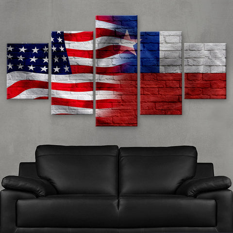 HD PRINTED LIMITED EDITION AMERICAN - CHILEAN (CHILE) FLAG CANVAS (FLAG120048)