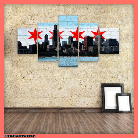 HD PRINTED LIMITED EDITION CHICAGO CITY FLAG CANVAS (CHI112119081A)