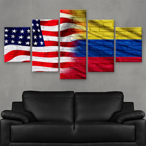HD PRINTED LIMITED EDITION AMERICAN - COLOMBIAN (COLOMBIA) FLAG CANVAS (FLAG120049)