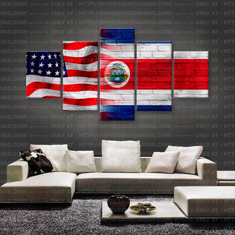 HD PRINTED LIMITED EDITION AMERICAN - COSTA RICAN (COSTA RICA) FLAG CANVAS (FLAG150052)