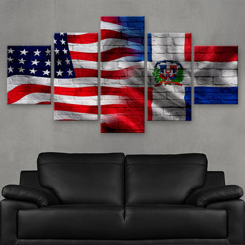 HD PRINTED LIMITED EDITION AMERICAN - DOMINICAN REPUBLIC FLAG CANVAS (FLAG120050)