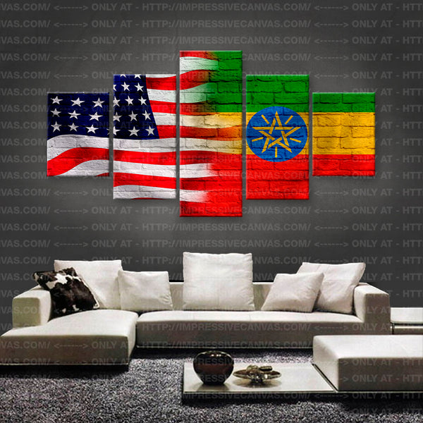 HD PRINTED LIMITED EDITION AMERICAN - ETHIOPIAN (ETHIOPIA) FLAG CANVAS (FLAG150044A1)