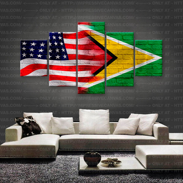 HD PRINTED LIMITED EDITION AMERICAN - GUYANESE (GUYANA) FLAG CANVAS (FLAG150004)